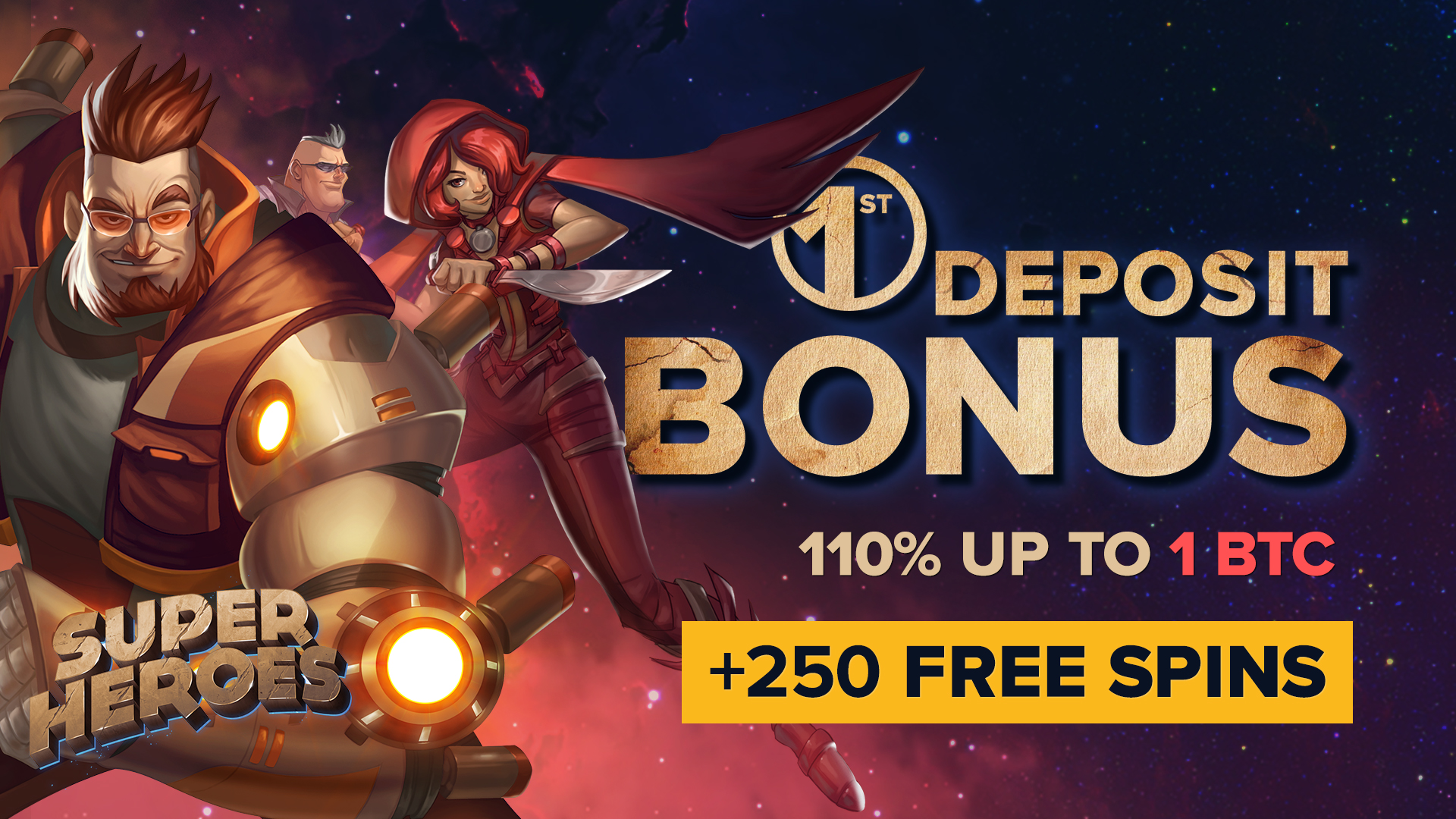 Massive 110% up to 1 BTC First Deposit Bonus + 250 Free Spins at mBitcasino